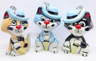 Lorna Bailey Pottery, the complete 'Three Pussketeers' Collection':- 'Purrthos', 'Pawthos' and '