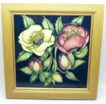 A square Moorcroft plaque, limited edition, designed by Emma Bossons, 20cm x 20cm, framed