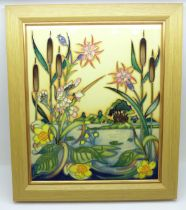 A Moorcroft Runnymede plaque, designed by Nicola Slaney, numbered edition, boxed