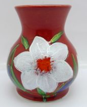An Anita Harris trojan vase in the Spring Flowers design, signed in gold on the base, 11cm