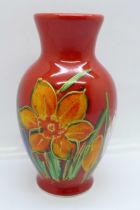 An Anita Harris delta vase in the Daffodil design, signed in gold on the base, 13cm