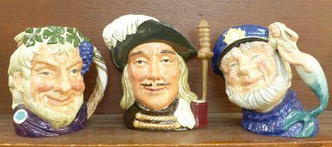 Three Royal Doulton large character mugs, Old Salt, Bacchus and Aramis, Aramis second quality
