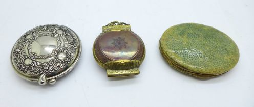 A shagreen compact, a plated compact and one other brass and copper hinged box or compact
