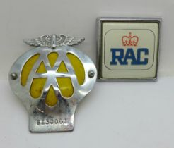 Two car badges; RAC and AA