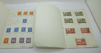 Stamps; two small folders of stamps including six penny reds and definitives