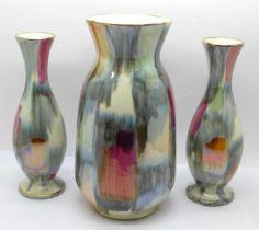 A set of three West German vases, tallest 20cm