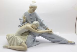 A large Lladro porcelain figure group, ?Closing Scene?, (ref 4935), ballerina and a pierrot,