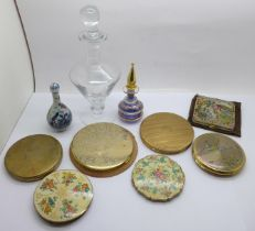 Seven compacts and three perfume bottles