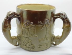 A salt glaze three handled hunting mug, 16cm, a/f (cracked)