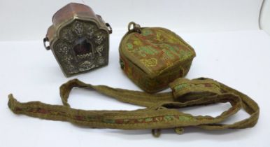 A Tibetan Ghau prayer box in copper and white metal within a canvas and needlework pouch