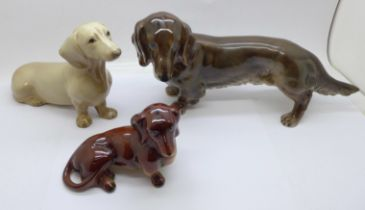 Three models of dachshunds, Goebel, Szeiler and one other