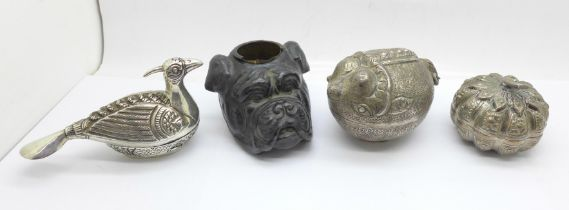 Two white metal boxes, (bird shaped box stamped T90), one other box and a novelty boxer dog metal