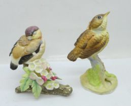 Two Royal Worcester birds; fledgling robin and fledgling bullfinch