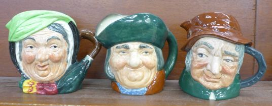 Three Royal Doulton large character jugs, Sairey Gamp, Toby Philpots and Uncle Tom Cobbleigh, two