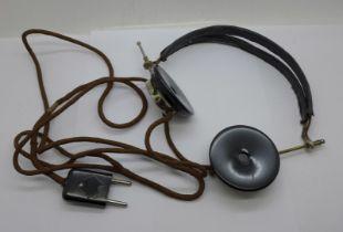 A pair of German headphones, marked N&K, Neufeldt & Kuhnke Kiel
