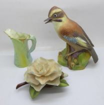 A Royal Worcester jay, camellia and small jug