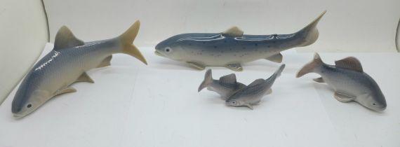 Four Royal Copenhagen models, bream and trout