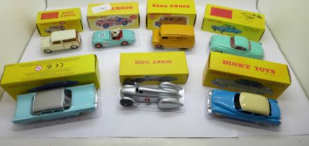 Seven modern Norev Dinky Toys die-cast vehicles, boxed