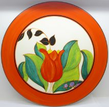 A Wedgwood Bradford Exchange Clarice Cliff Centenary Red Tulip plate, limited edition, with