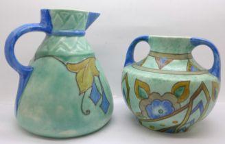 A Wade Heath Flaxman Ware vase and jug