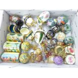 A collection of pill boxes, Limoges eggs, Chinese pots, etc.