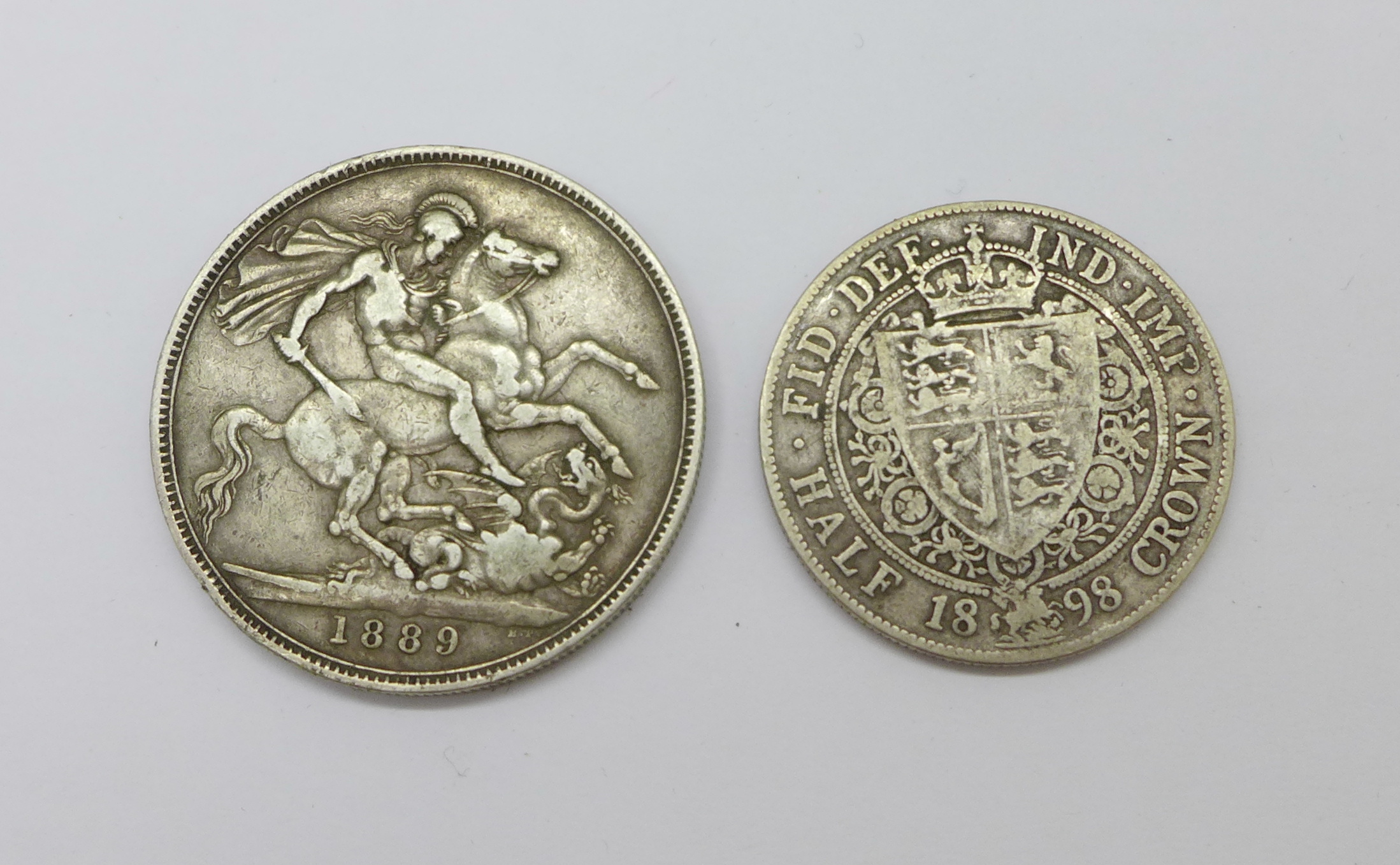 A Victorian 1889 crown and an 1898 half crown