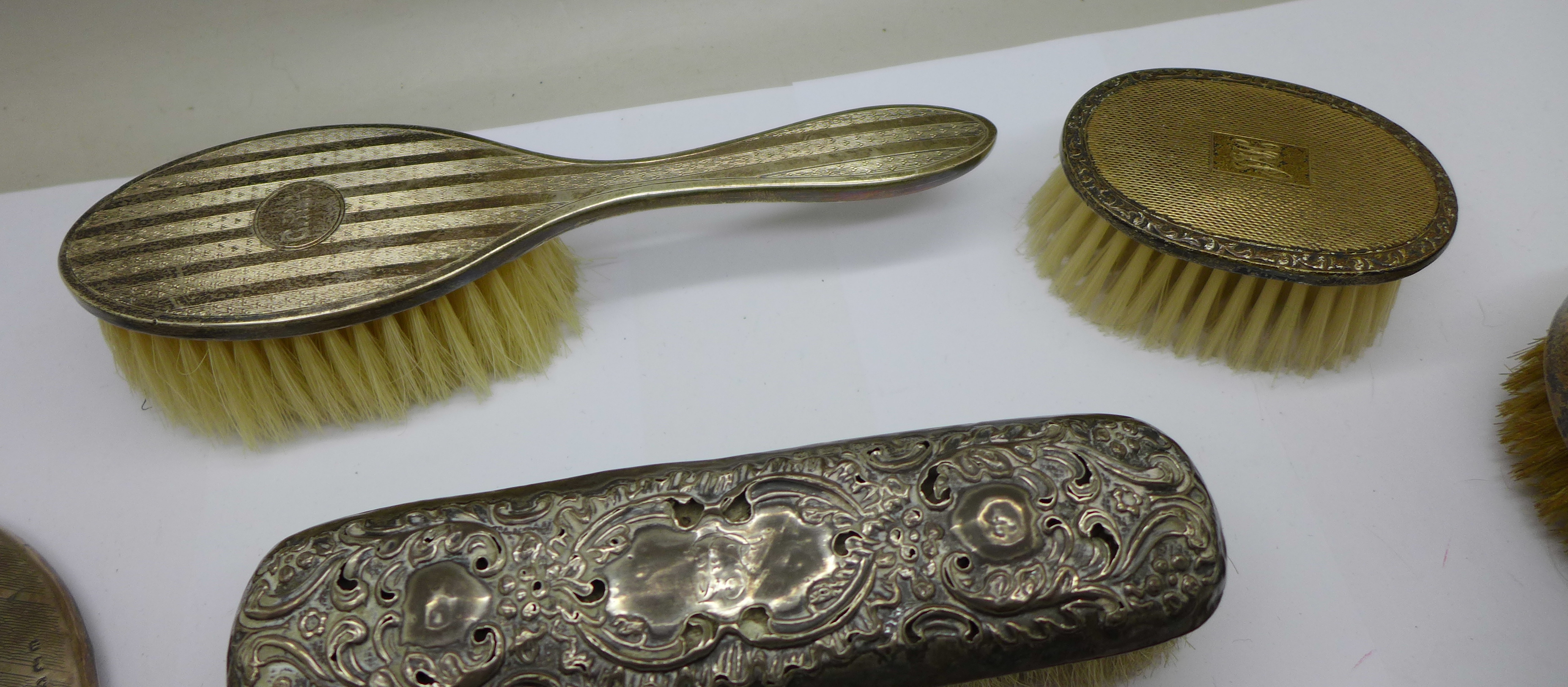 Silver brushes (two cased), comb and a hand mirror - Image 3 of 9
