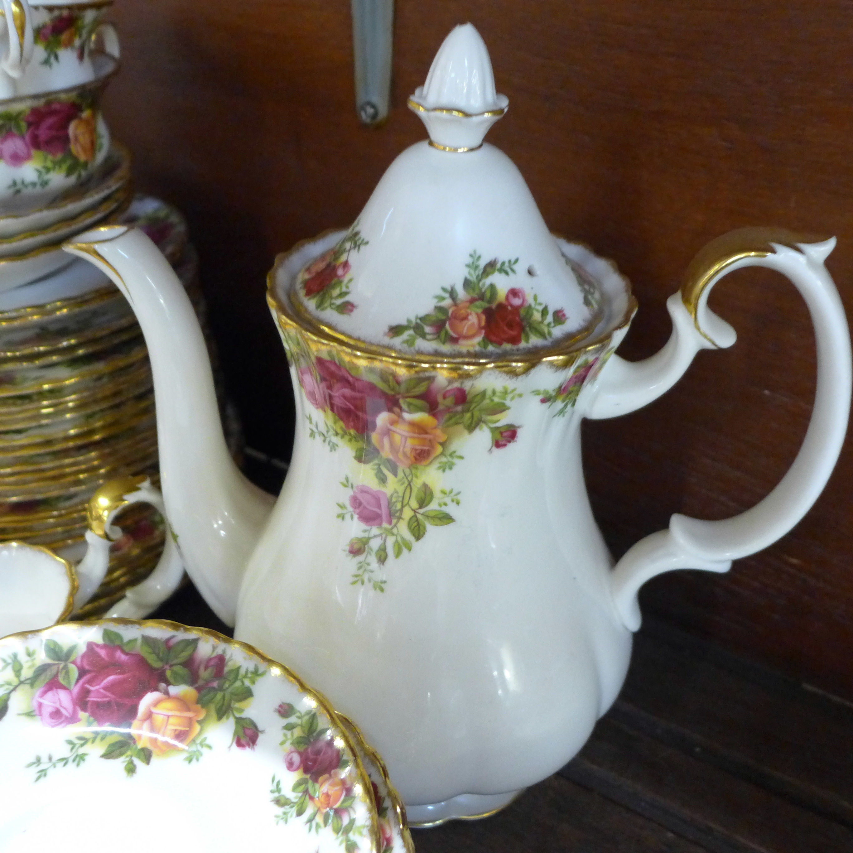 A collection Royal Albert Old Country Roses including six dinner plates, cups, coffee and teapot, - Image 5 of 7