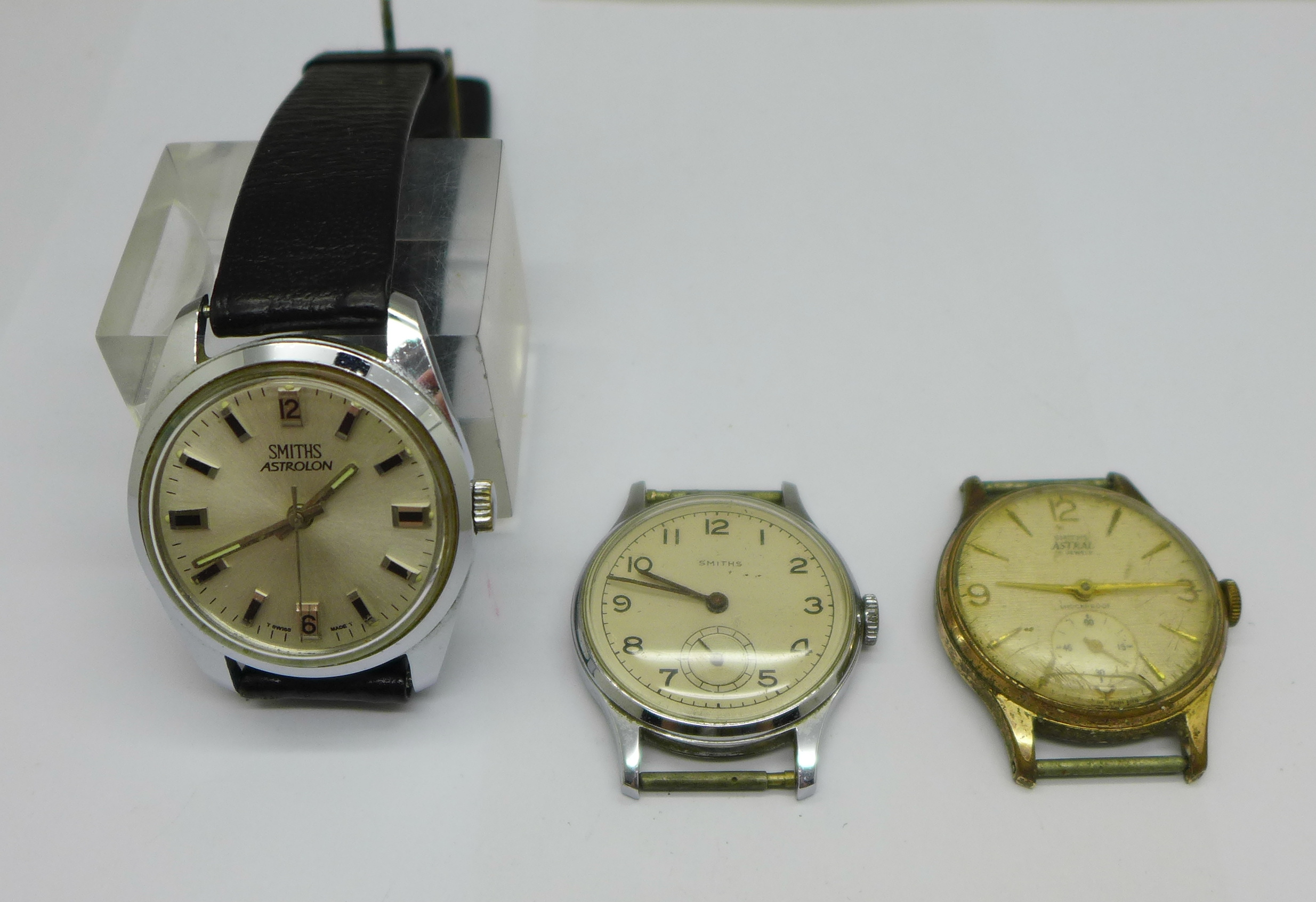 A Smiths Astral, Smiths Astrolon and one other Smiths wristwatch with De Luxe movement
