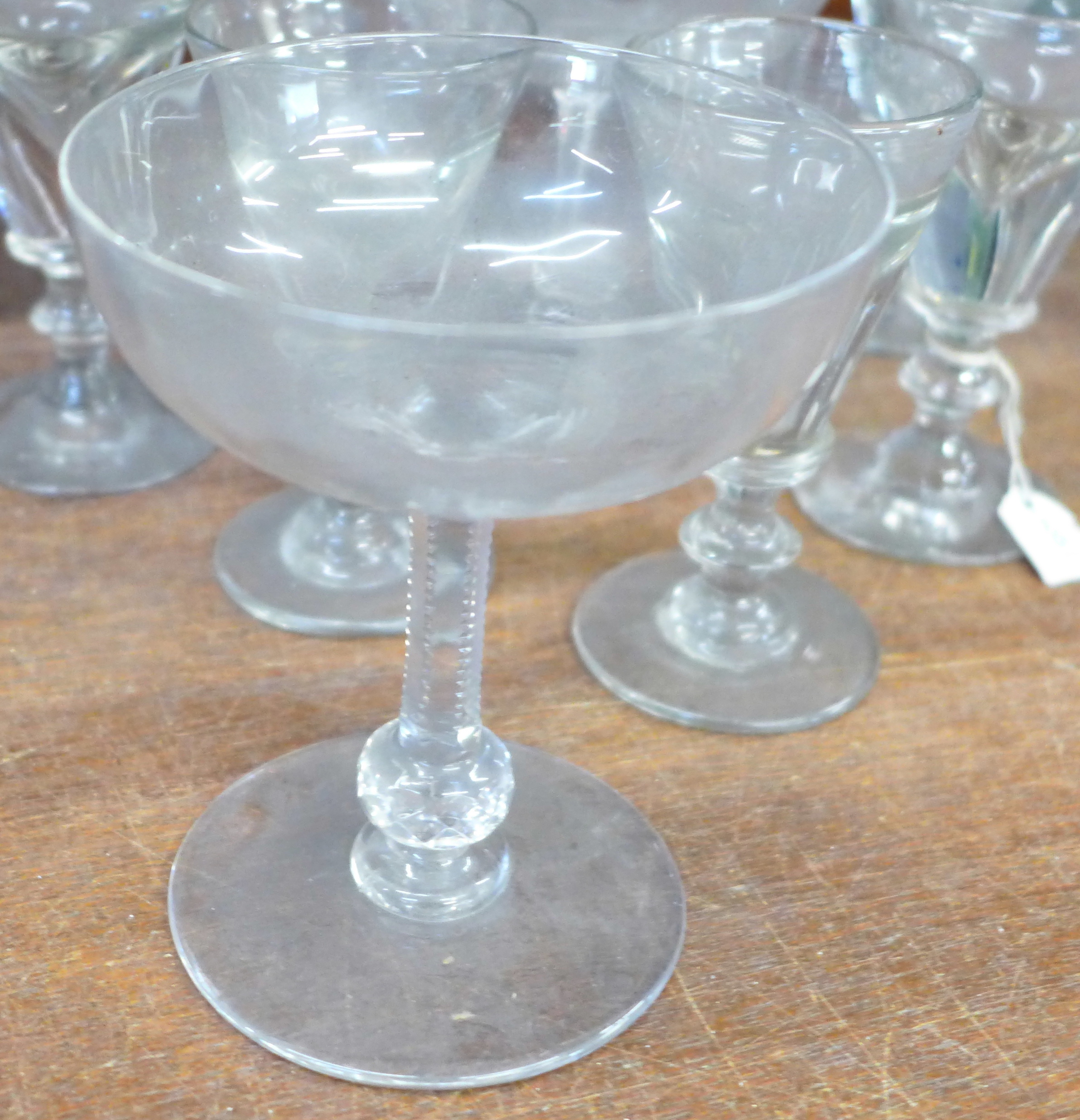 Seven 19th Century champagne coupes and five penny licks - Image 3 of 3