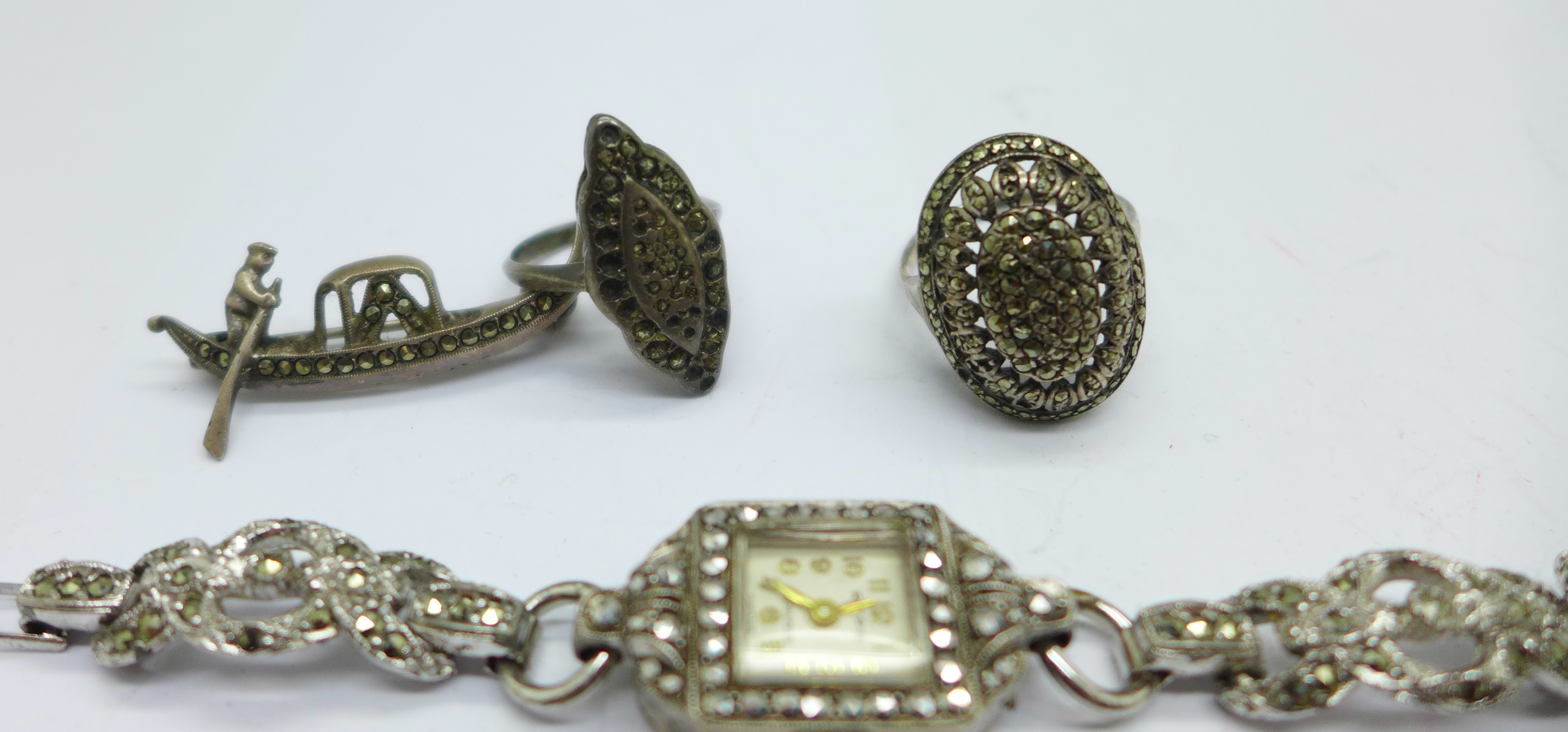 A collection of silver and marcasite jewellery including a lady's wristwatch - Image 2 of 3