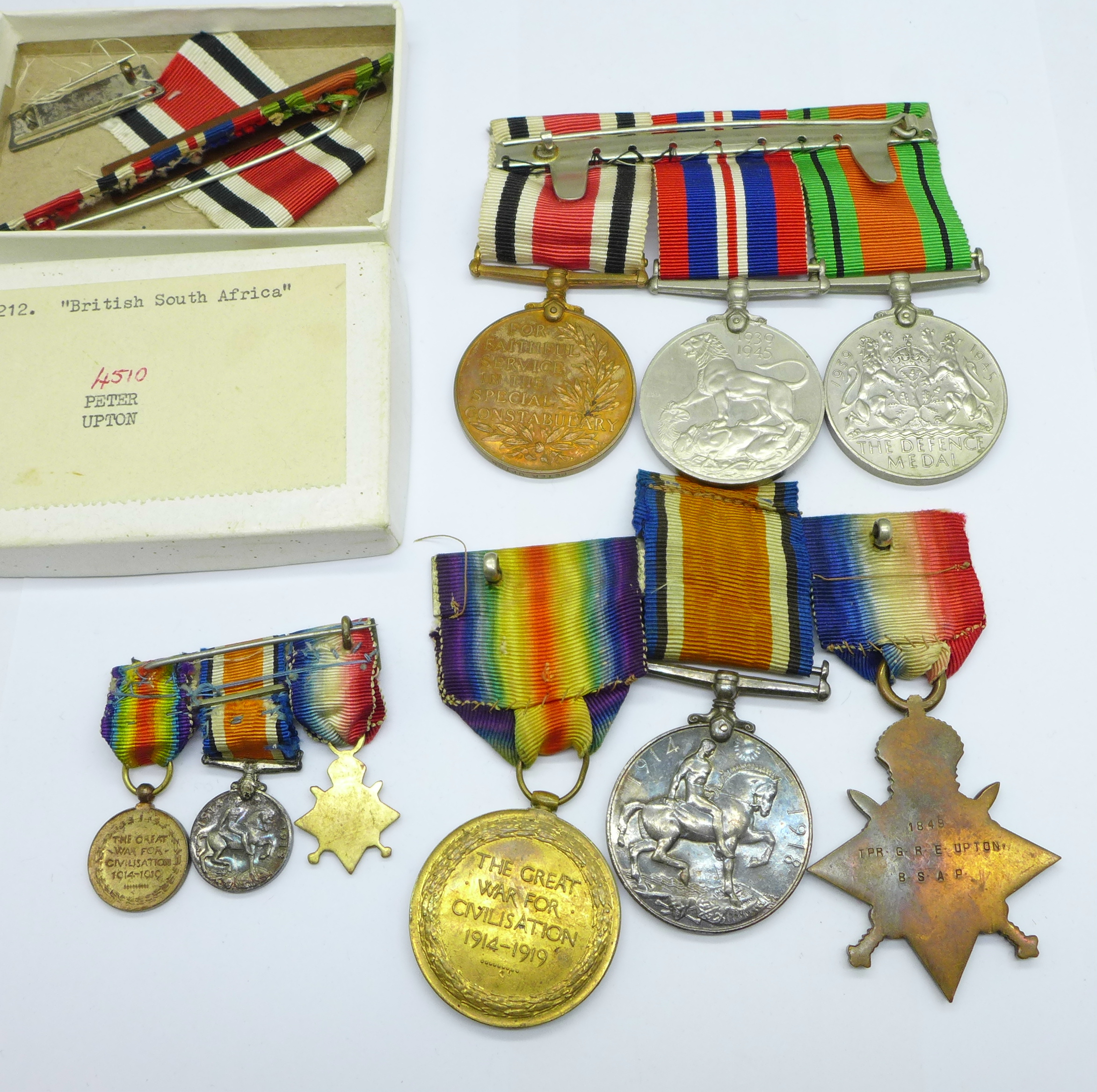 A family group of medals, three WWII medals including Special Constable, a trio of WWI medals to - Image 6 of 6