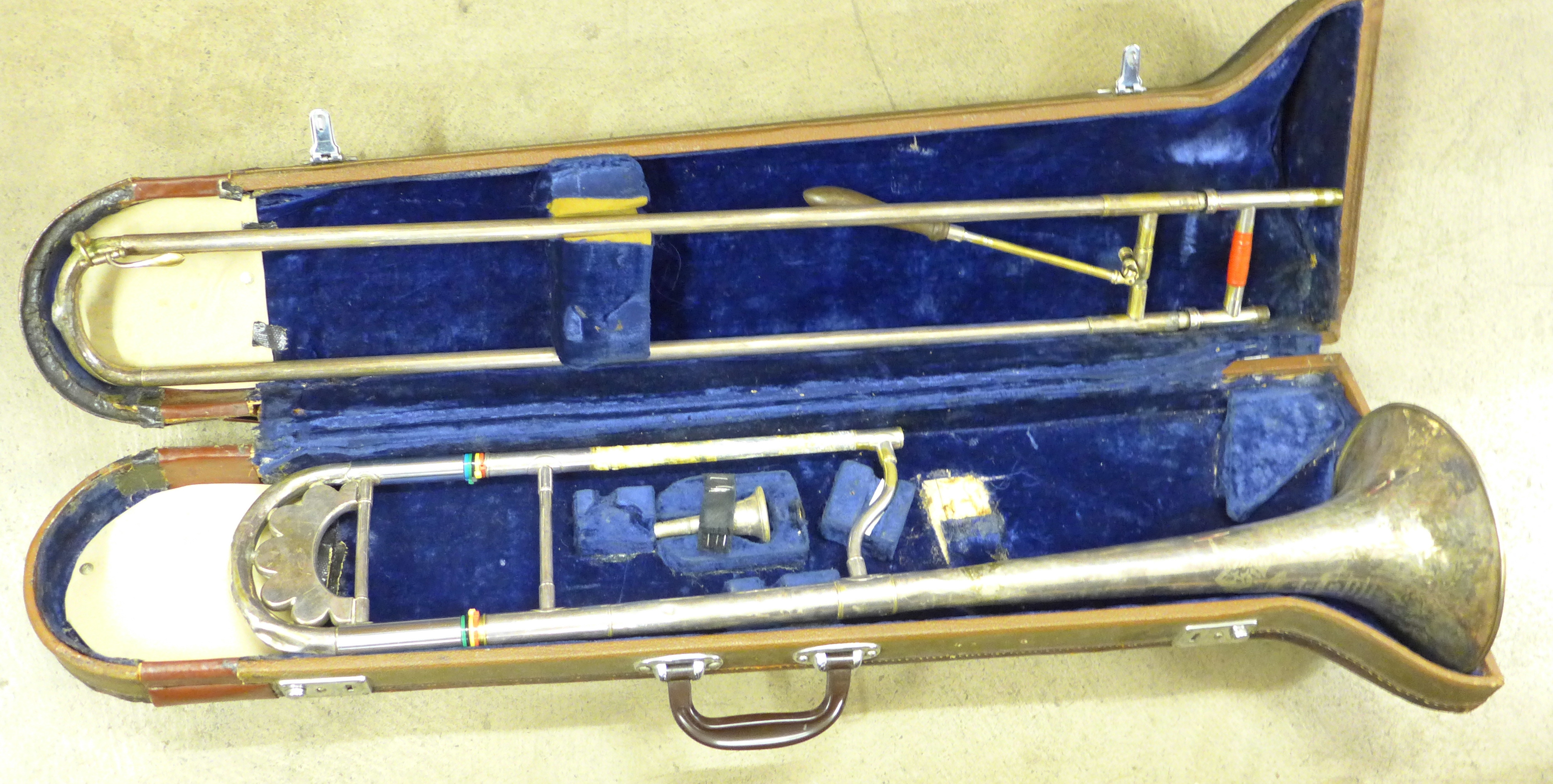 A cased Besson g-flat trombone - Image 4 of 4