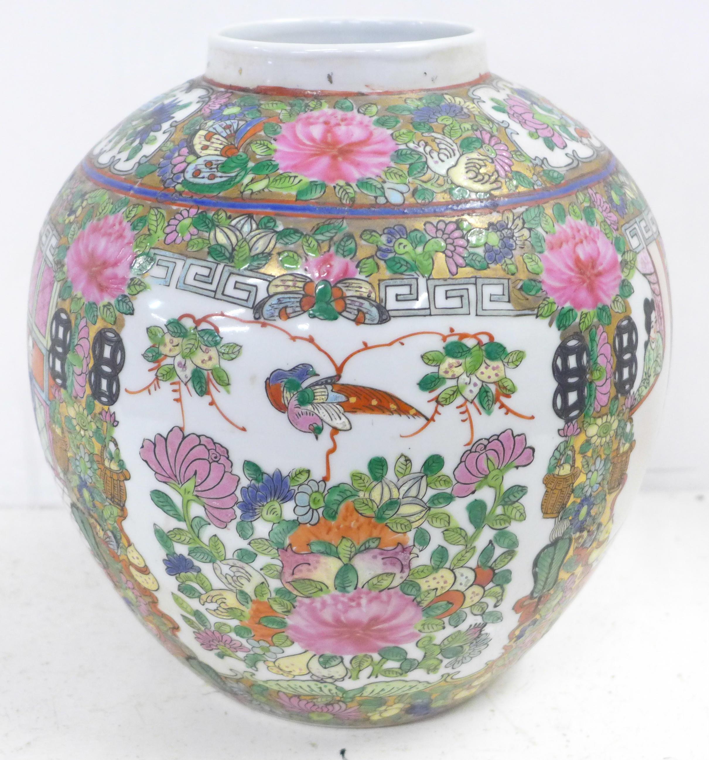 A famille verte ginger jar, lacking lid, 22.5cm - Image 2 of 6