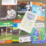 Football programmes; international match programmes including amateur (1948) England v Luxembourg,