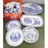 A box of blue and white china including vases, teapots, plates, etc.