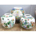 Three famille verte ginger jars, all lacking lids