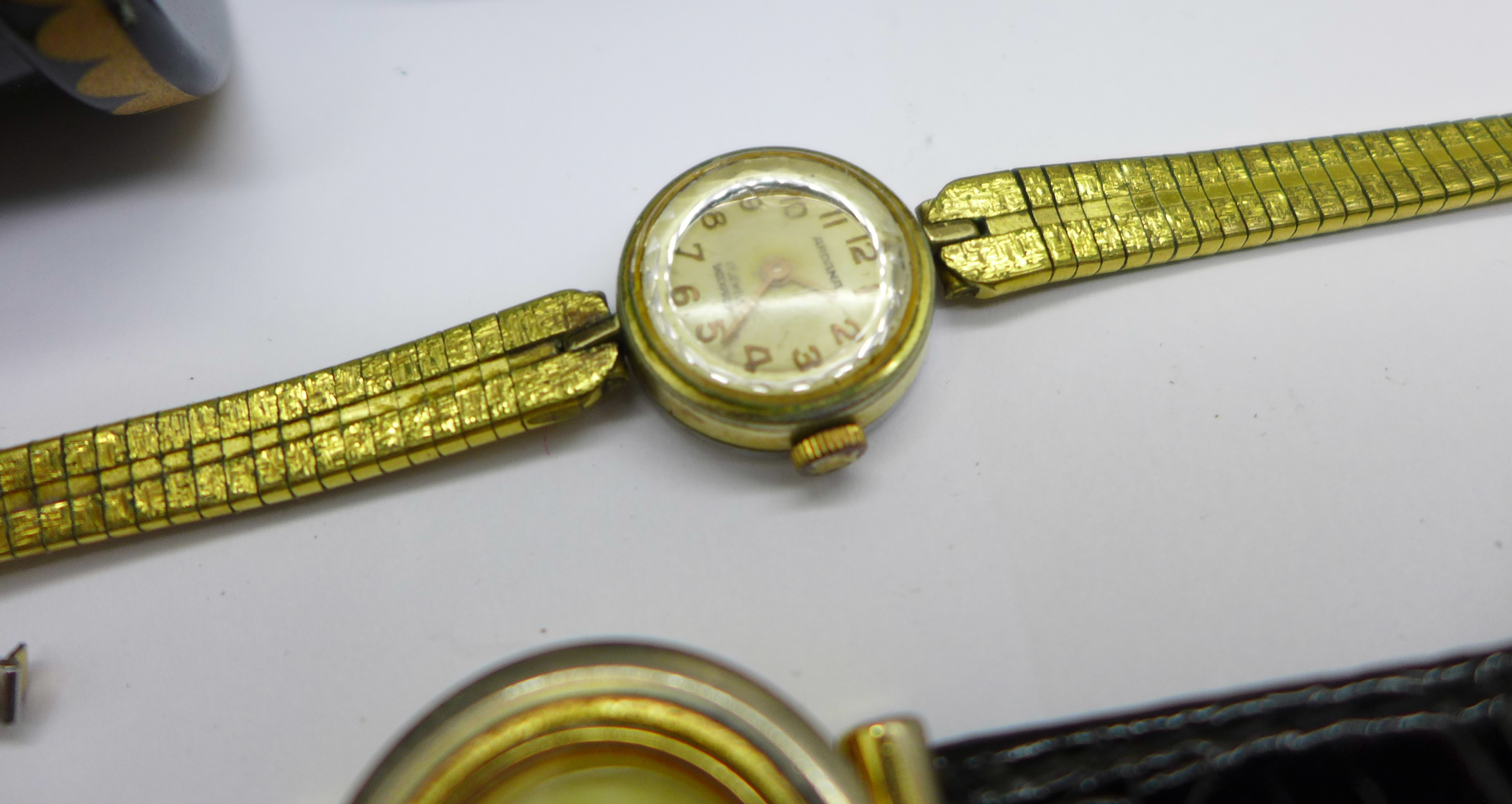 Five lady's wristwatches, a Kienzle travel clock and a trinket box - Image 4 of 9