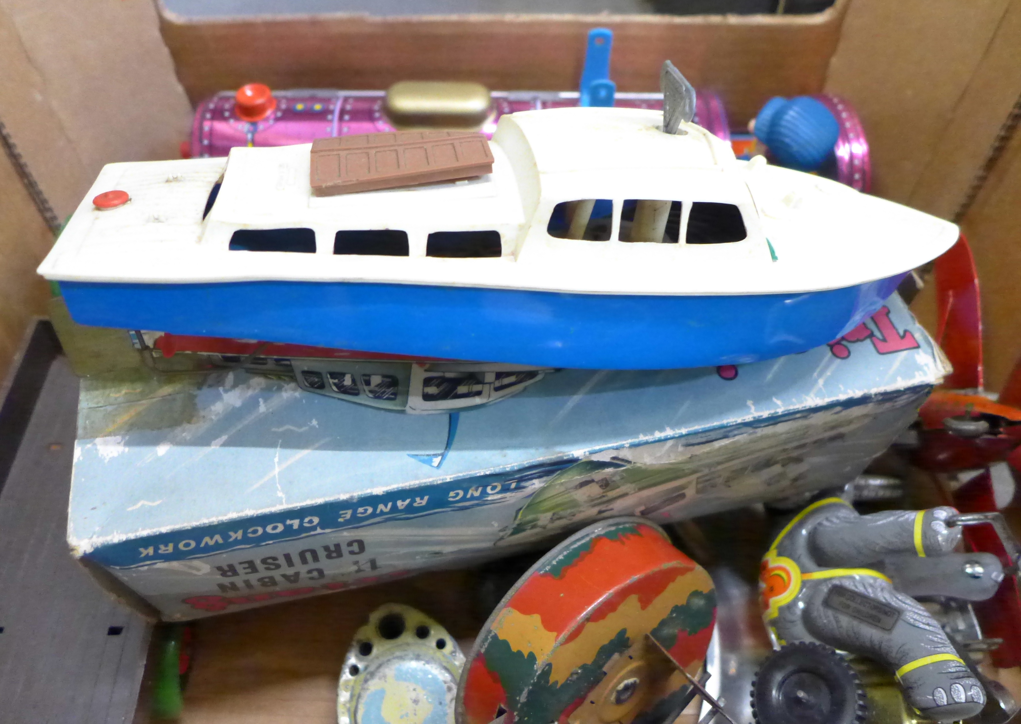 A collection of tin-plate toys, Tri-ang cabin cruiser, locomotive, etc. - Image 3 of 3