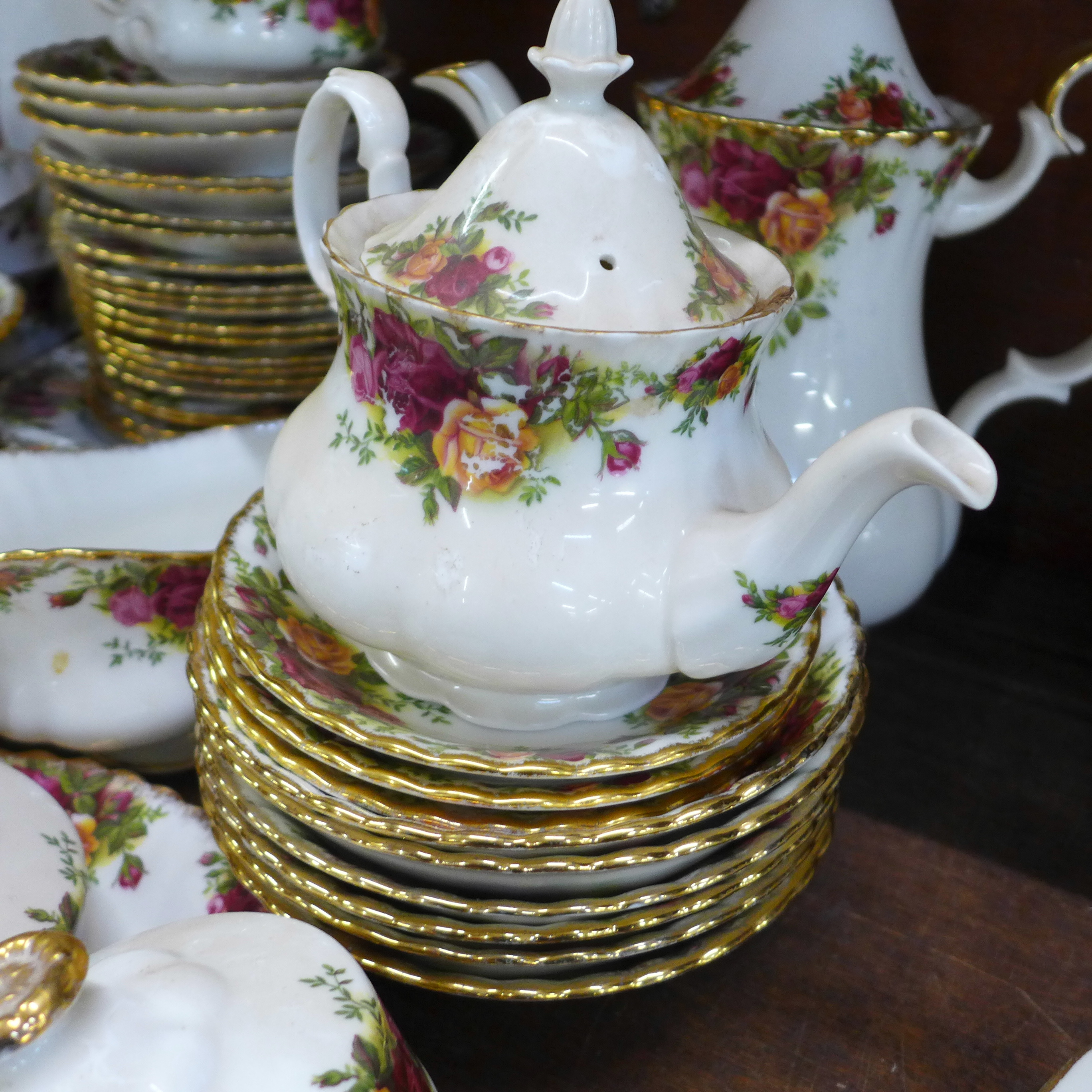 A collection Royal Albert Old Country Roses including six dinner plates, cups, coffee and teapot, - Image 4 of 7