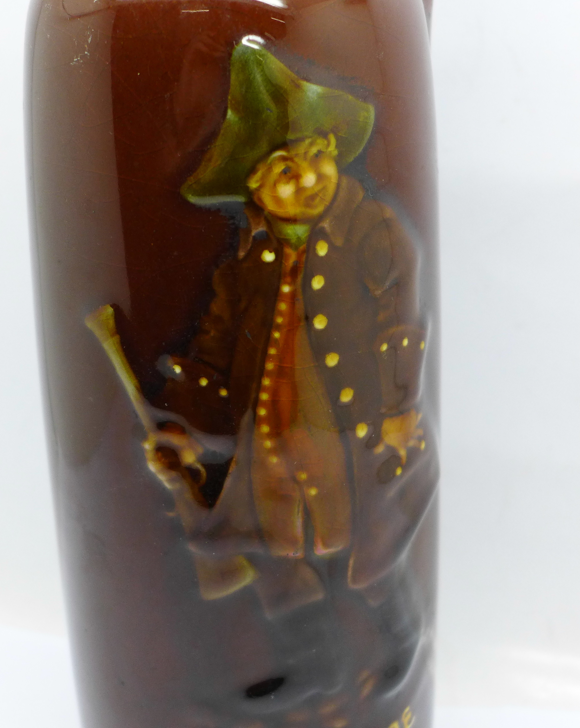 A Doulton Kingsware Dewars whisky flask with image of George the Guard - Image 2 of 5