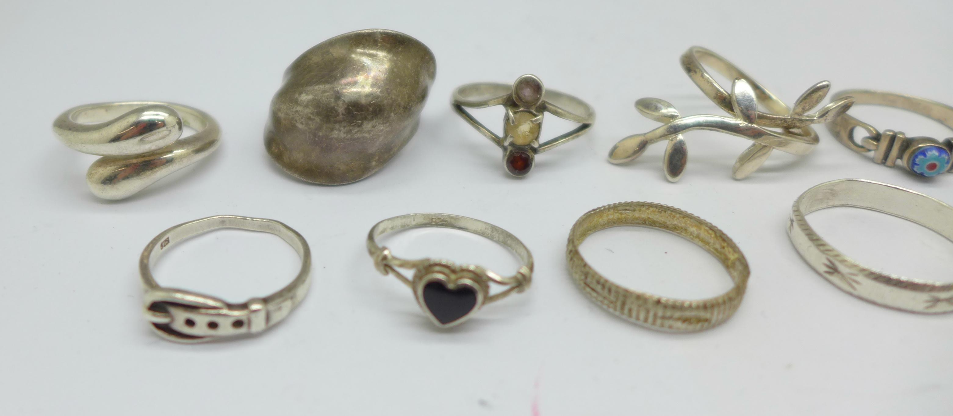 Ten silver rings, 28g - Image 3 of 5