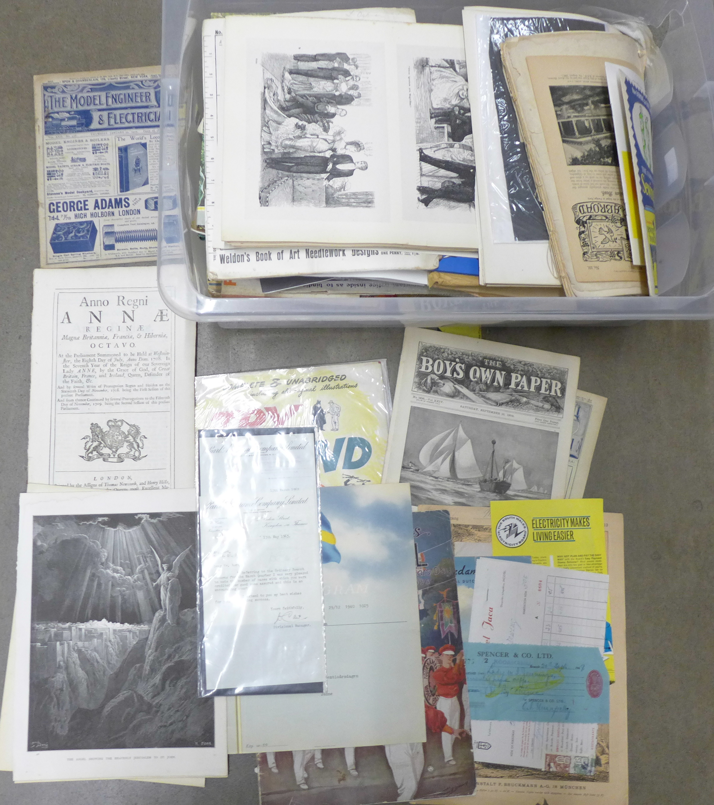 A box of ephemera, magazines, letter heads, etc. **PLEASE NOTE THIS LOT IS NOT ELIGIBLE FOR