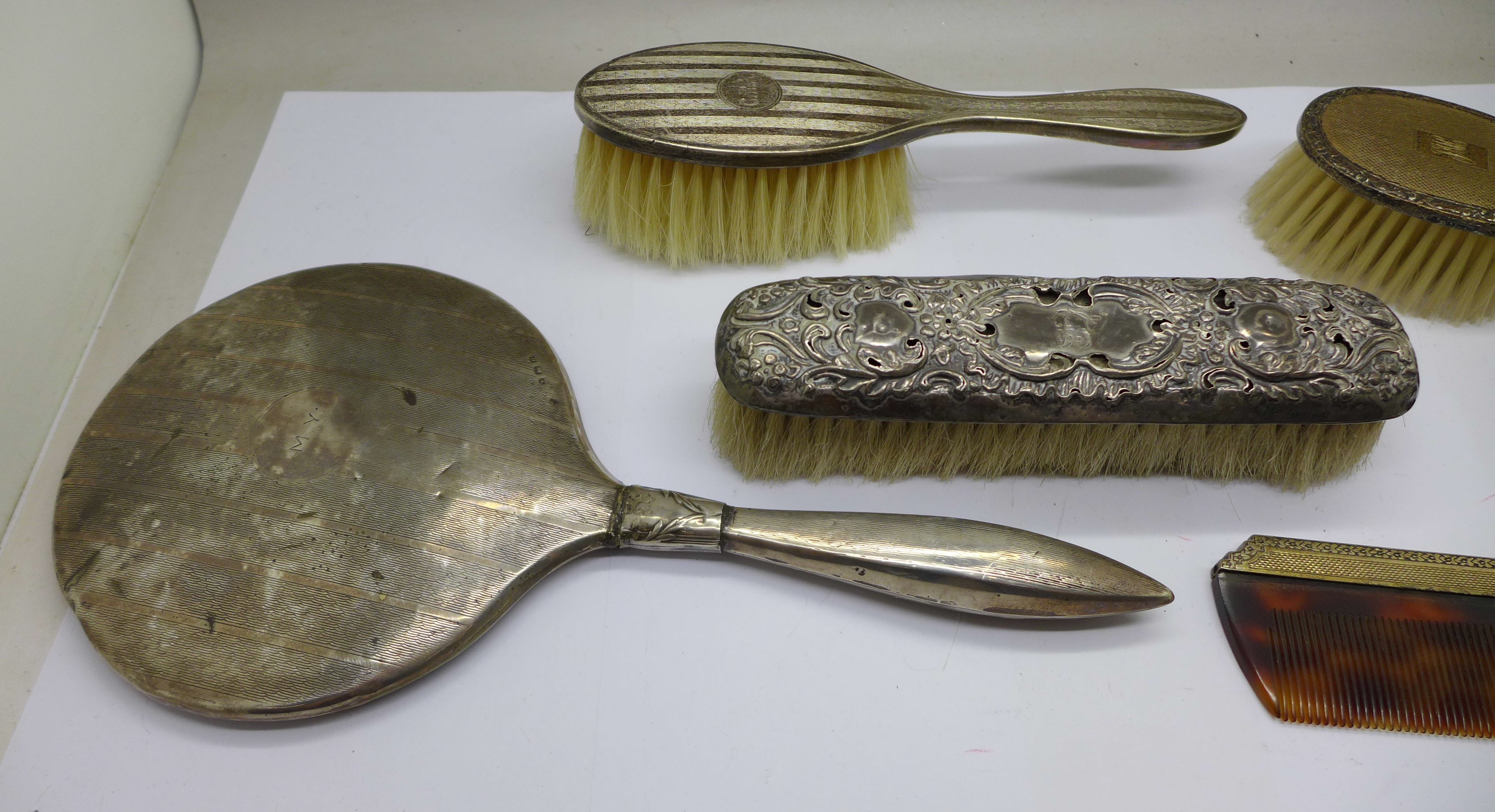 Silver brushes (two cased), comb and a hand mirror - Image 2 of 9