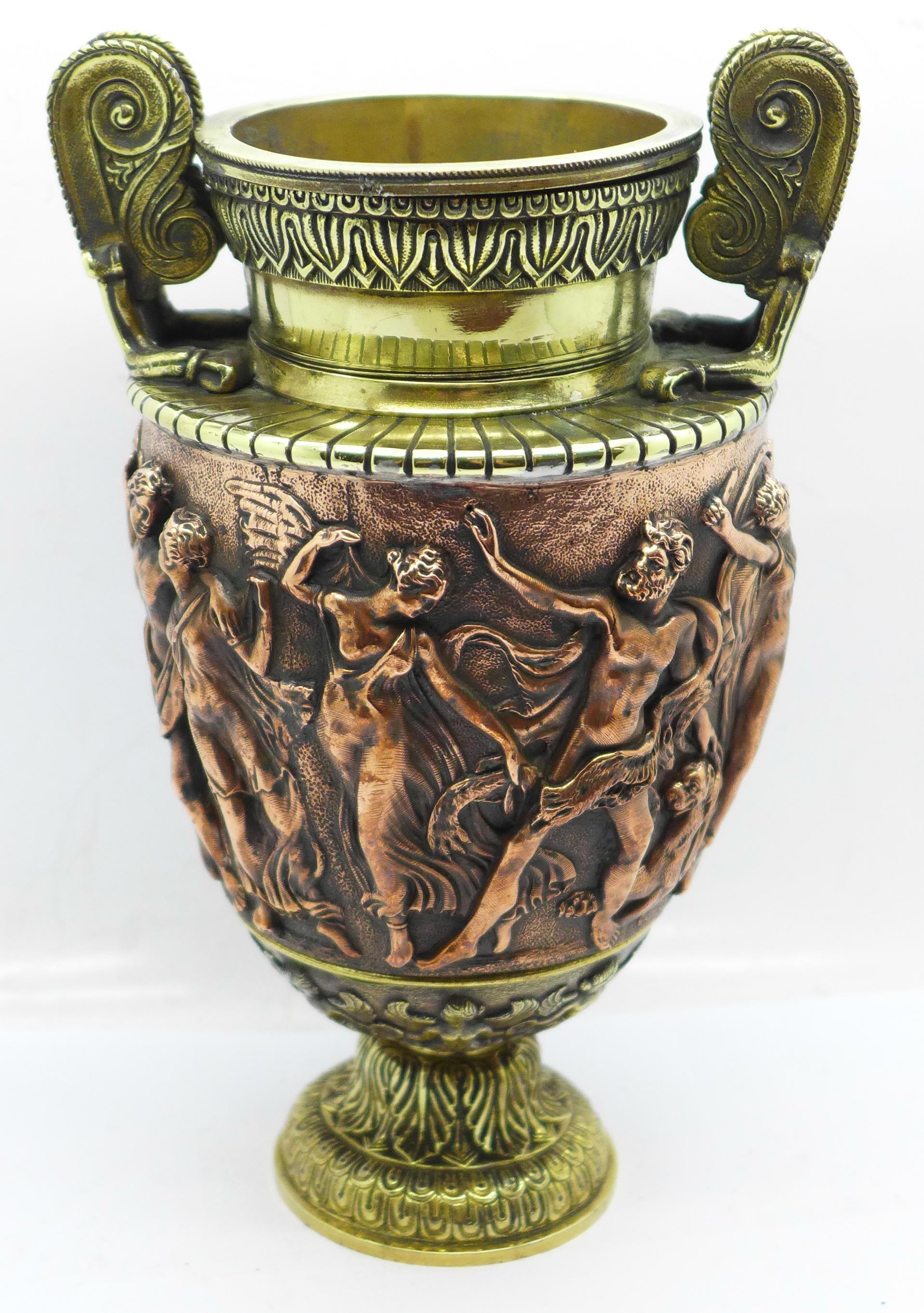A bronze urn, Festival of Bacchus, 20cm - Image 3 of 6