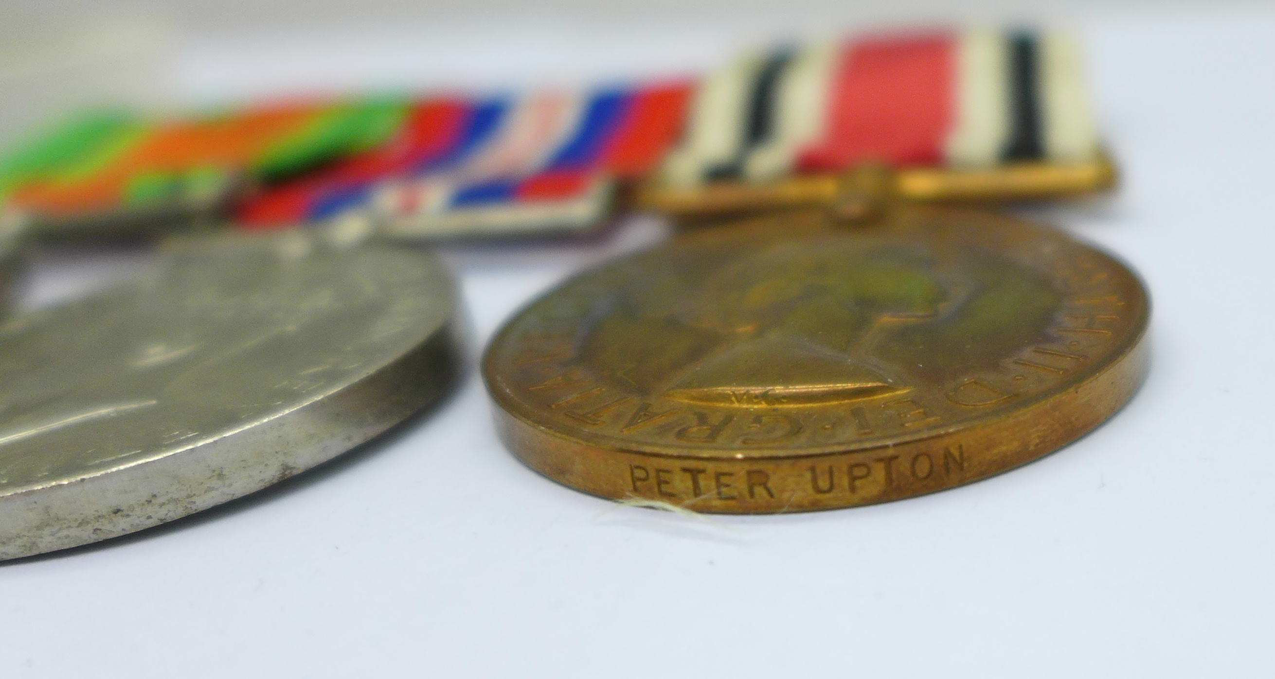 A family group of medals, three WWII medals including Special Constable, a trio of WWI medals to - Image 5 of 6