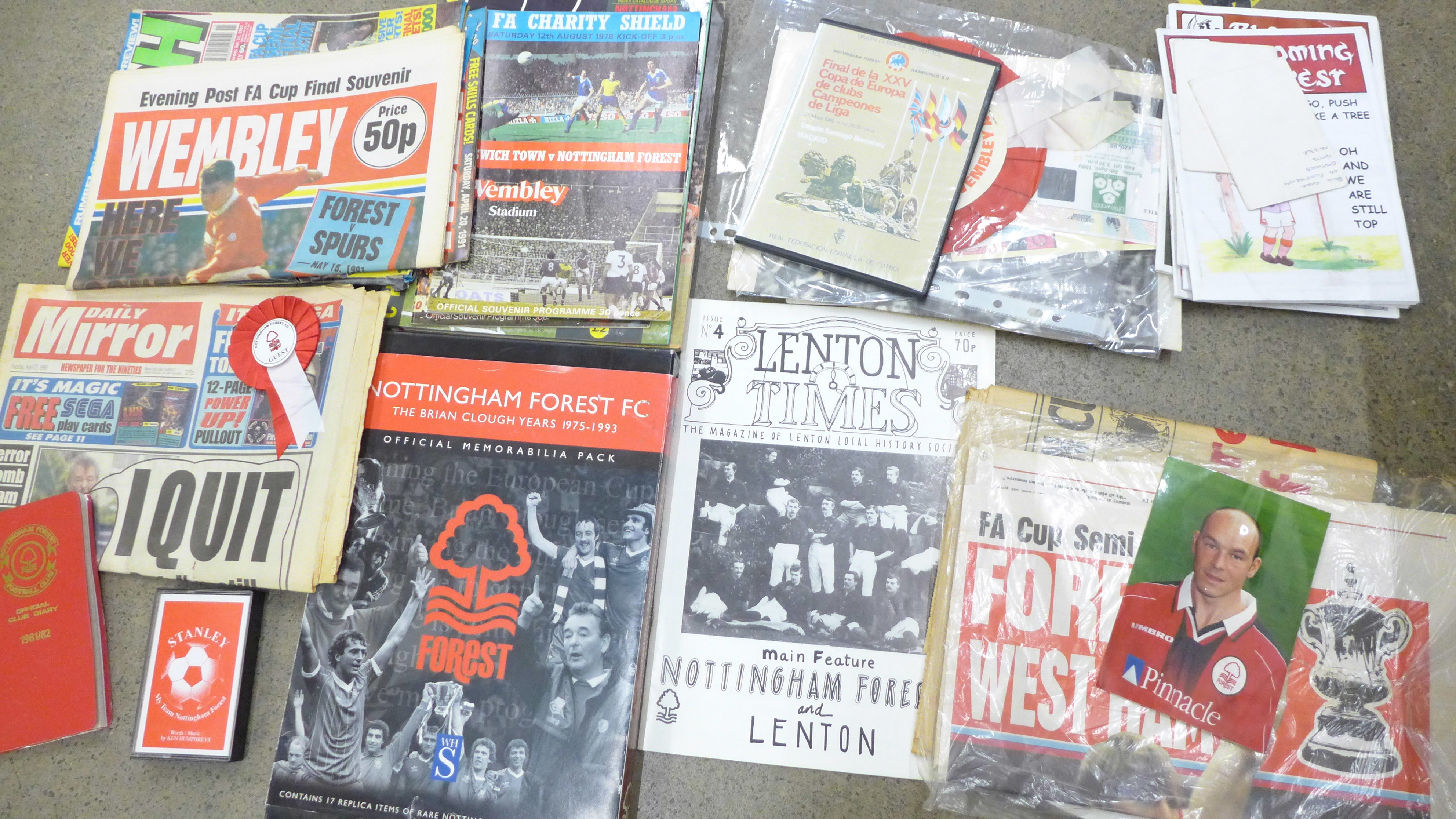 Football programmes including Nottingham Forest and other Nottingham Forest ephemera