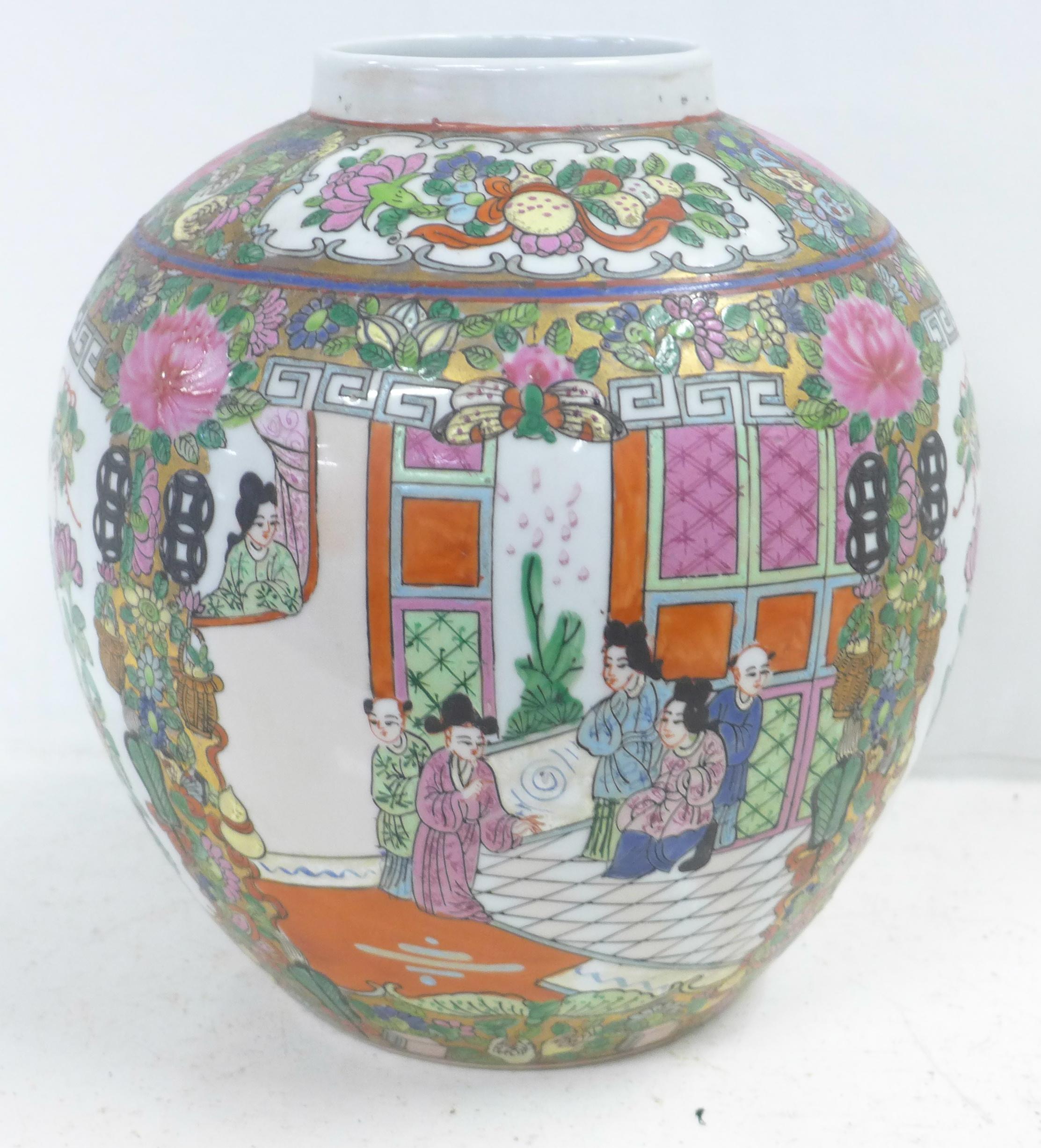 A famille verte ginger jar, lacking lid, 22.5cm