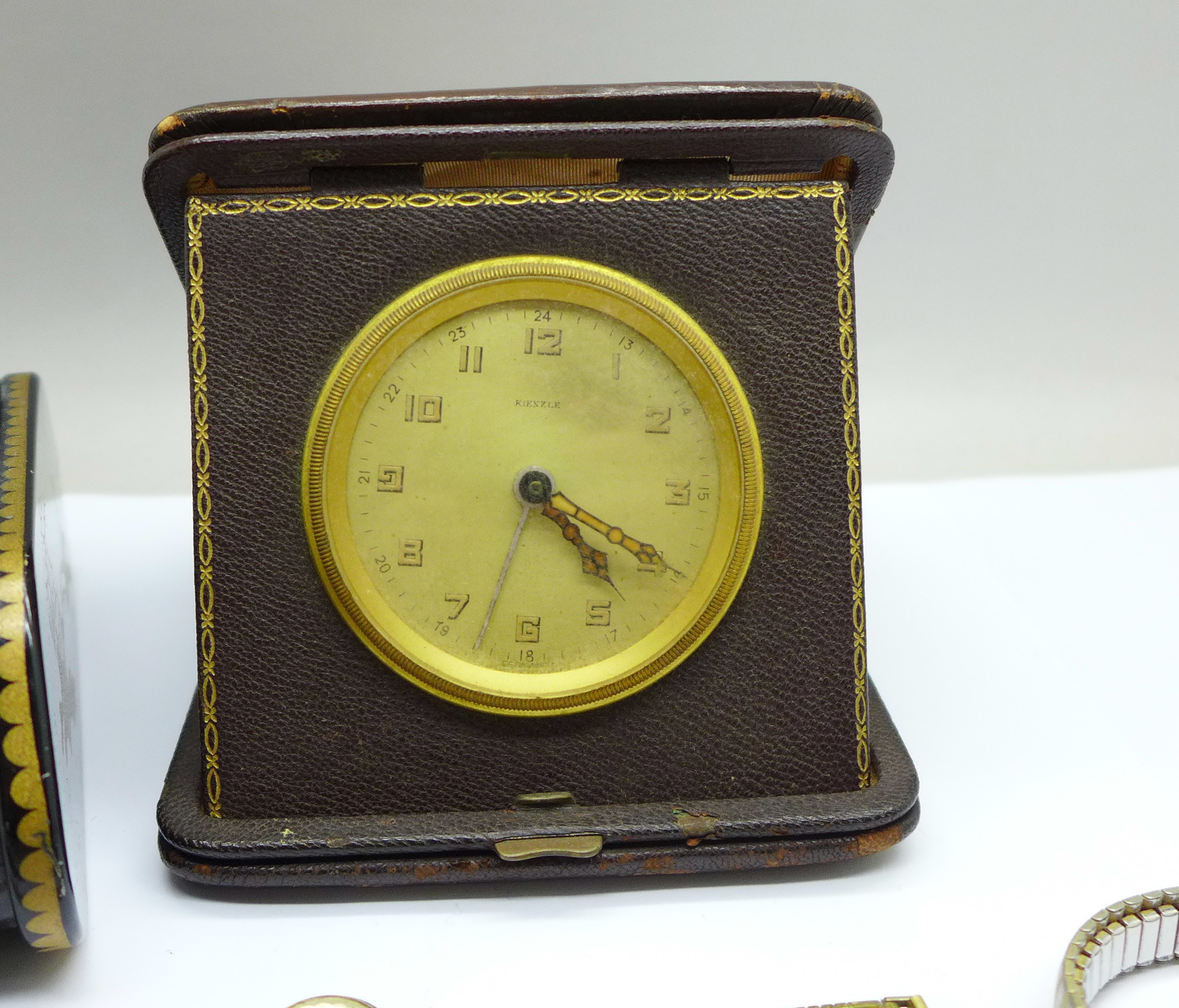 Five lady's wristwatches, a Kienzle travel clock and a trinket box - Image 5 of 9