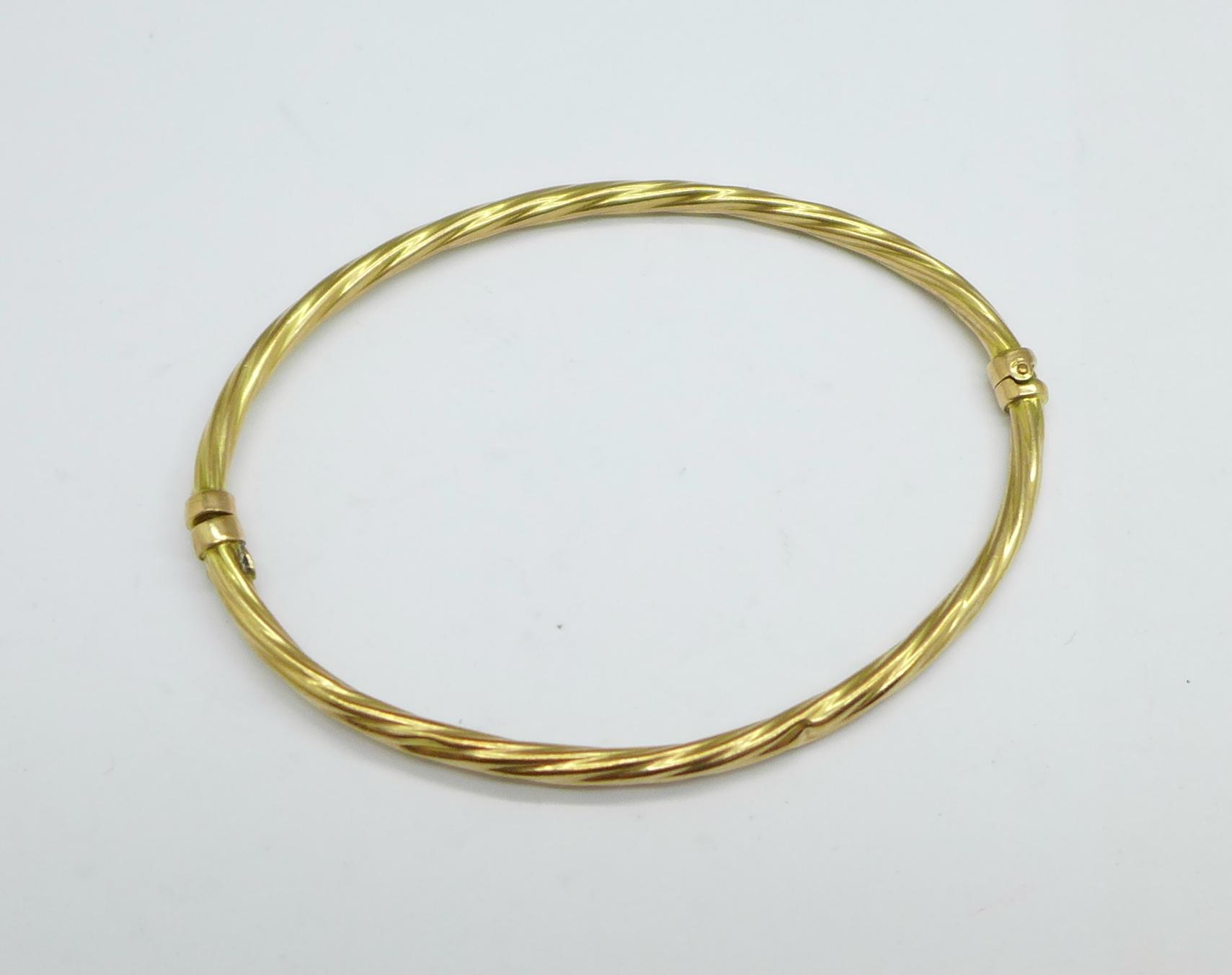 A 9ct gold bangle, 3.2g - Image 2 of 2